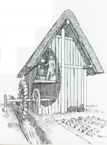 Rekonstruktion der frühmittelalterlichen Wassermühle in Dasing (8. Jahrhundert)